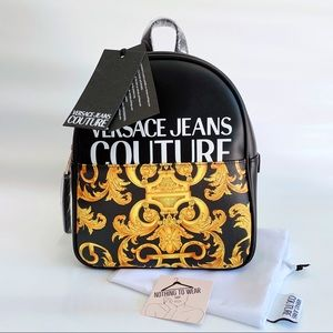⭕️ VERSACE JEANS Backpack Black Logo Leather